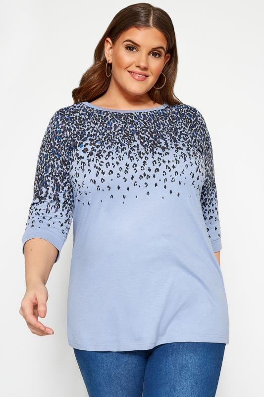 Tops Cómodos Tallas Grandes Top azul estampado leopardo