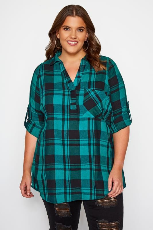 Plus Size Shirts Blue & Black Overhead Check Shirt