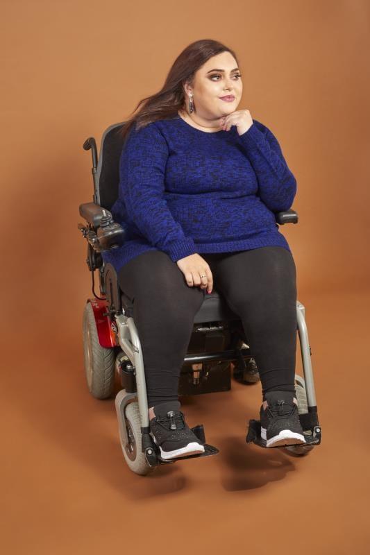 Plus Size Sweaters Blue & Black Twist Knitted Jumper