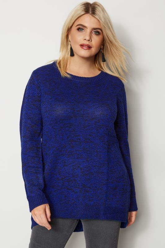 Plus Size Jumpers Blue & Black Twist Knitted Jumper