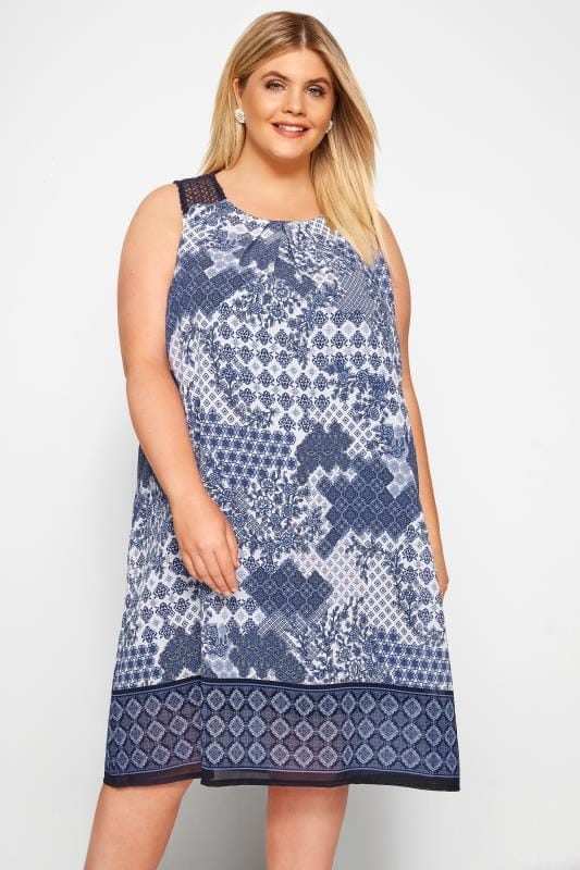 Plus Size Chiffon Dresses Blue Border Print Shift Dress