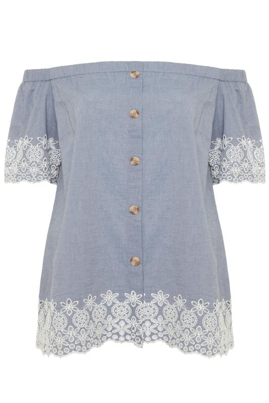 Blue Chambray Embroidered Bardot Top