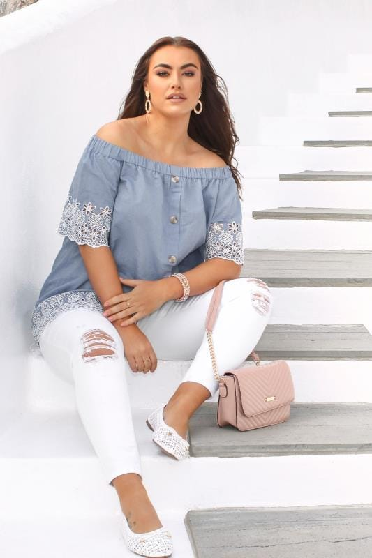 Plus Size Bardot & Cold Shoulder Tops Blue Chambray Embroidered Bardot Top
