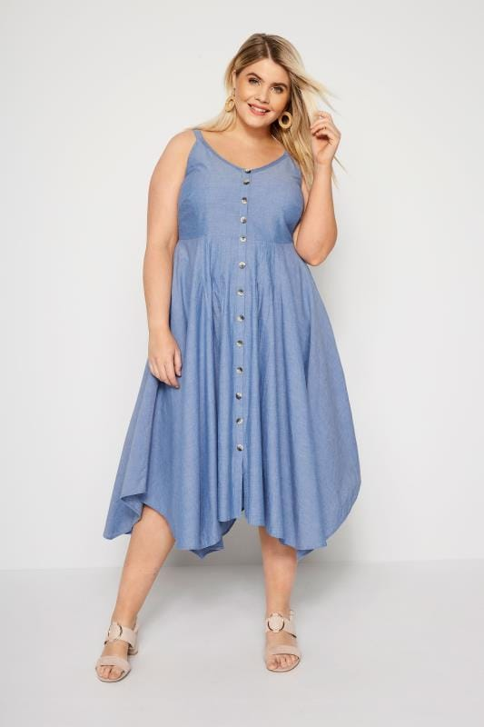 Blue Chambray Hanky Hem Dress