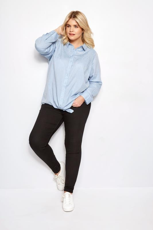 Blue Chambray Stud Tie Front Shirt