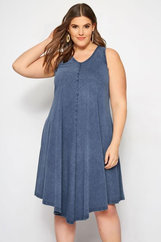 Plus Size Blue Chambray Swing Dress | Sizes 16 to 36 | Yours ...