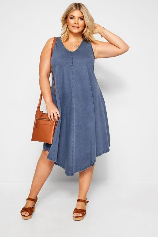 Plus Size Casual Dresses Blue Chambray Swing Dress
