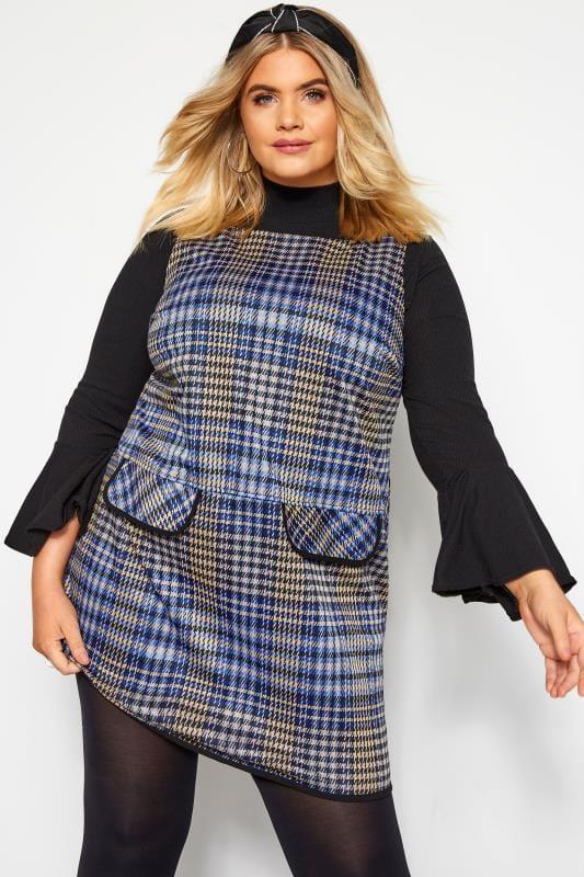 Plus Size Tunics Blue Check Mock Pocket Tunic