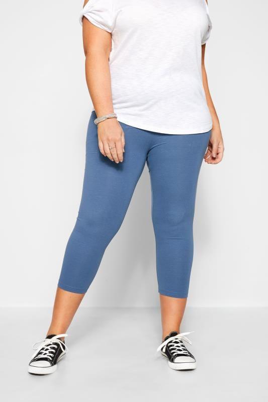 Plus Size Cropped & Short Leggings Blue Cropped Leggings