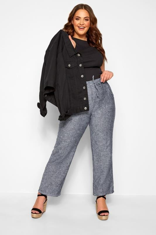 Plus Size Linen Mix Trousers Blue Crosshatch Linen Wide Leg Trousers