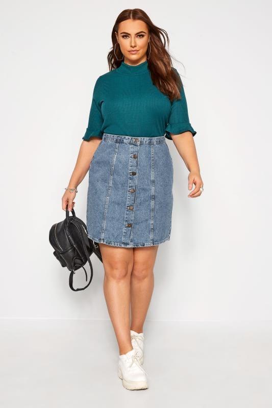 Plus Size Denim Skirts Blue Denim Button Through Skirt