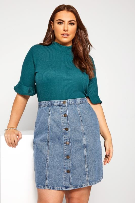 Plus Size Denim Skirts Blue Denim Button Through Skirt