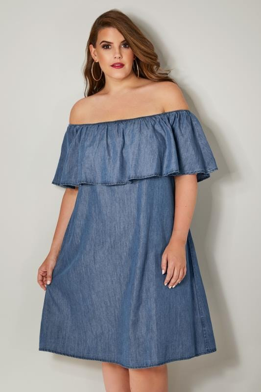 Blue Denim Chambray Bardot Dress, Plus size 16 to 36