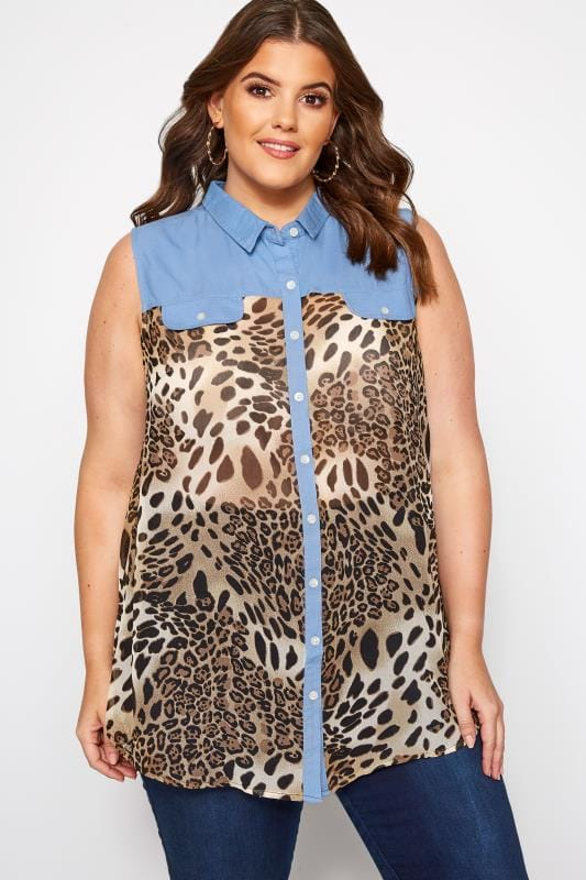 Plus Size 2 In 1 Tops Blue Denim Leopard Print Sleeveless Shirt