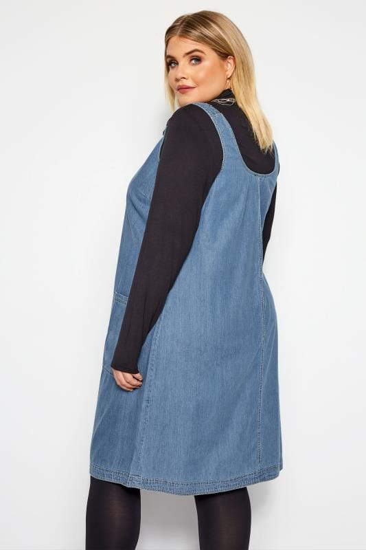 Blue Denim Ring Detail Pinafore Dress