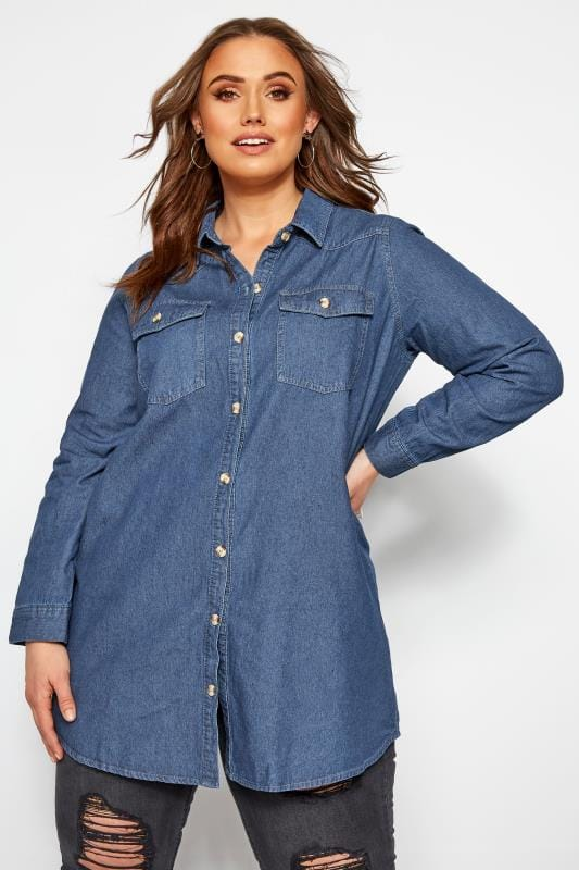 Plus Size Blouses & Shirts Blue Denim Shirt