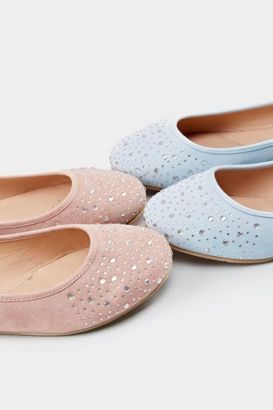 Pink Diamante Ballerina Pumps In Extra Wide Fit