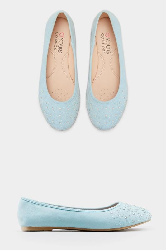 Blue Diamante Ballerina Pumps In Extra Wide Fit