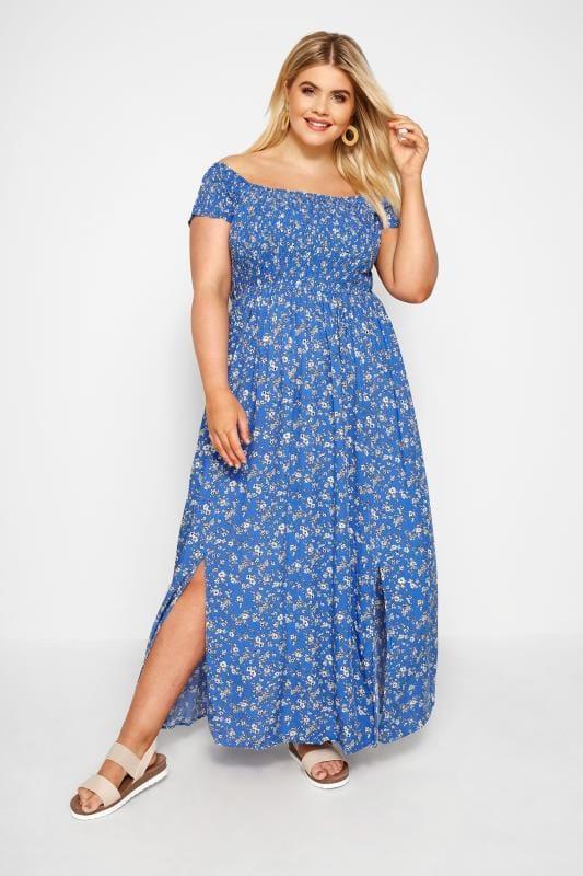 Maxi-Kleid mit Blümchen - Blau