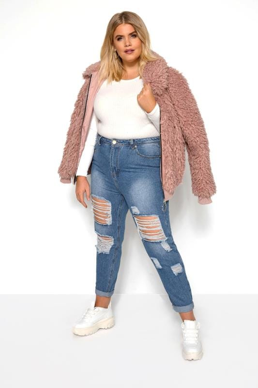 Boyfriend Jeans Grande Taille Blue Extreme Ripped Mom Jeans