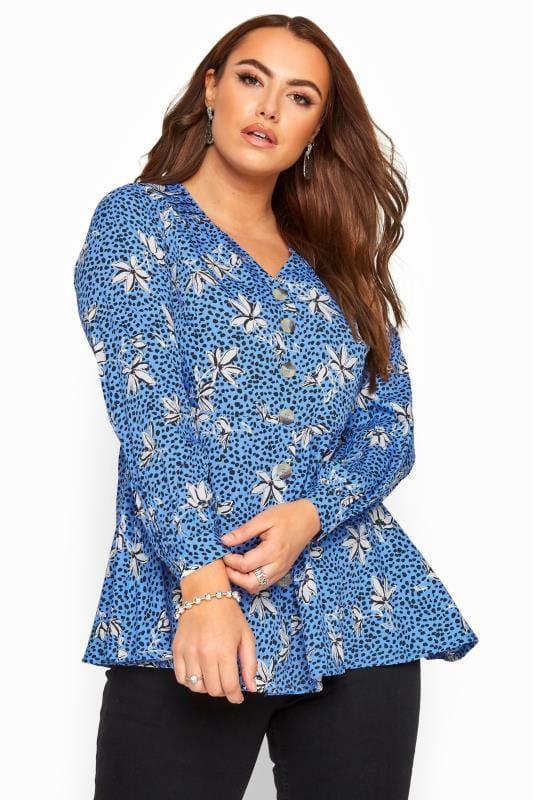 Plus Size Blouses Blue Floral Button Peplum Blouse