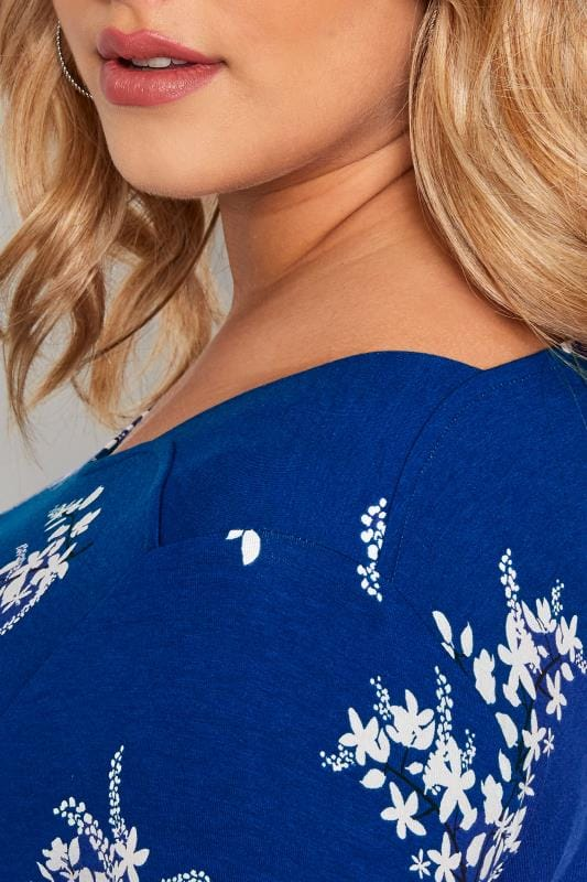 Blue Floral Jersey Swing Top