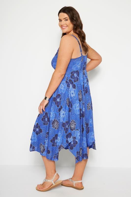Blue Floral Hanky Hem Dress