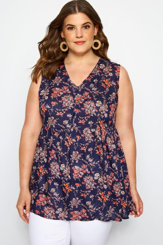 Plus Size Blouses & Shirts Navy Floral Smock Blouse