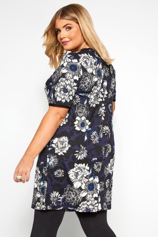 Blue Floral Print Tunic