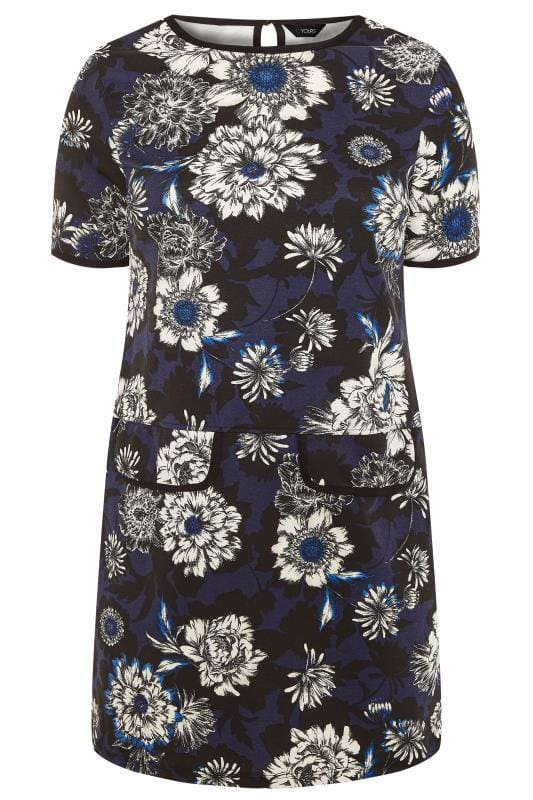 Plus Size Casual Dresses Blue Floral Print Tunic