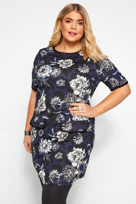 Plus Size Casual Dresses Blue Floral Print Tunic