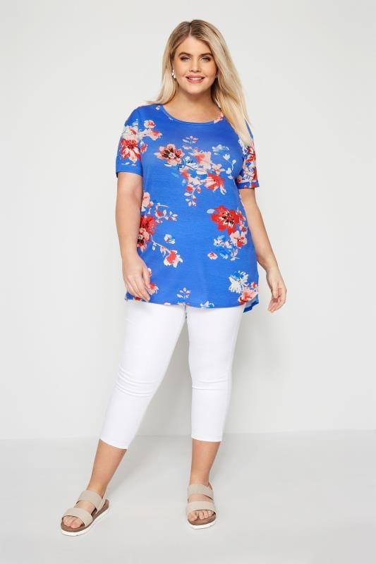 Blue Floral Scoop Neck T-Shirt