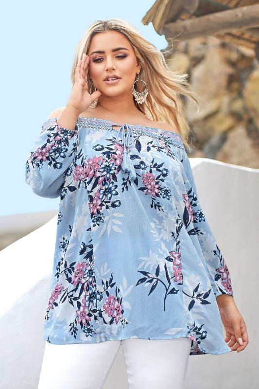 Plus Size Gypsy Tops Blue Floral Shirred Gypsy Top
