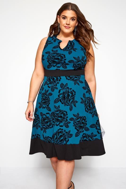 Plus Size Skater Dresses Blue Floral Skater Dress