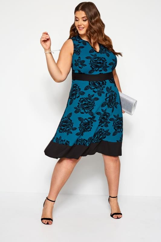 Plus Size Skater Dresses Blue Floral Skater Dress