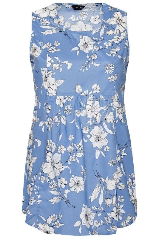 Blue Floral Sleeveless Pocket Top