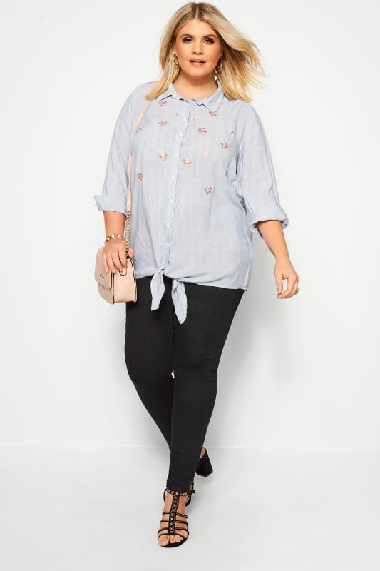 Plus Size Blouses & Shirts Blue Floral Stripe Tie Front Shirt