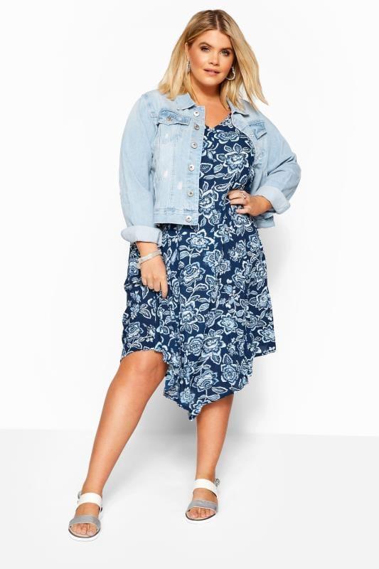 Plus Size Swing Dresses Blue Floral Swing Dress