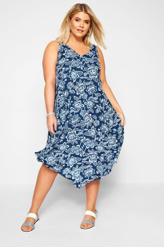 Plus Size Swing Dresses Blue Floral Swing Dress