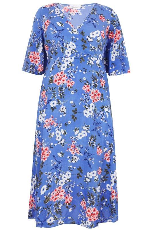 Blue Floral Wrap Maxi Dress