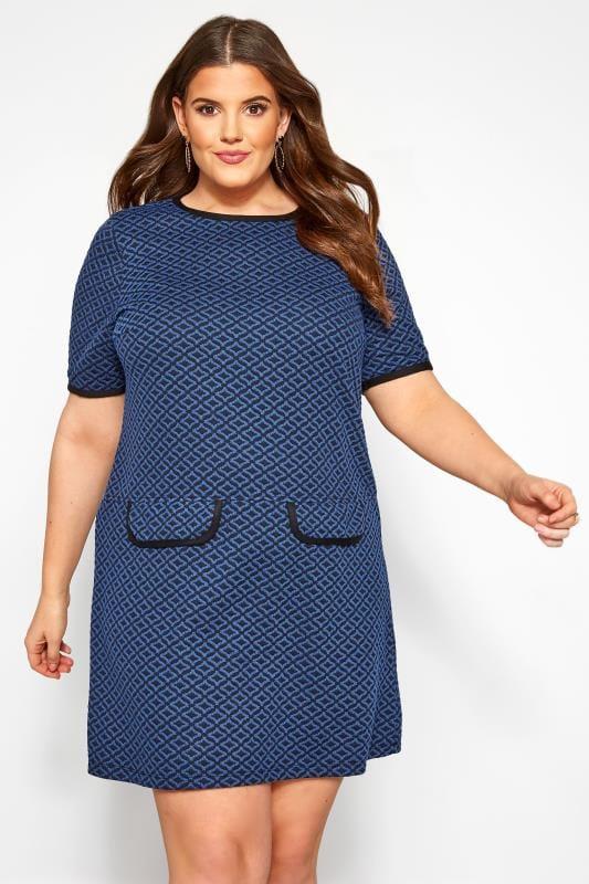 Plus Size Casual Dresses Blue Geometric Print Tunic