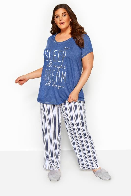Pyjamas Tallas Grandes Blue Glitter 'Sleep All Night' Pyjama Set