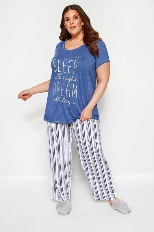 Plus Size Pyjamas Blue Glitter 'Sleep All Night' Pyjama Set