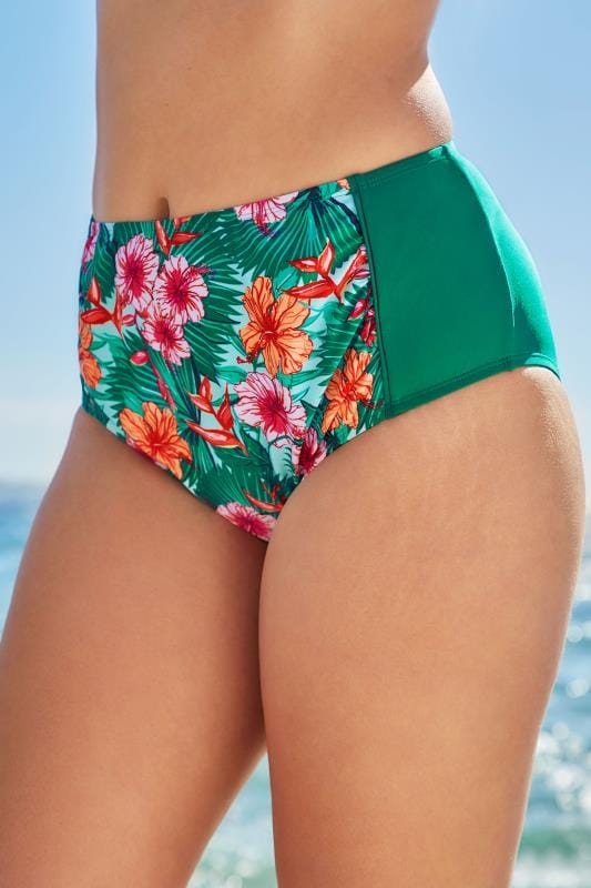 Plus Size Bikinis & Tankinis Green & Multi Hibiscus Print Ruched Briefs