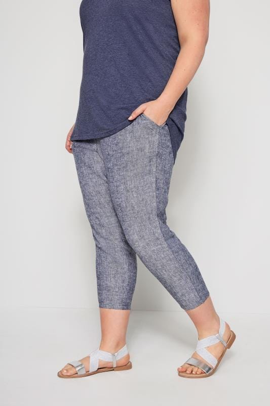 Plus Size Capri Pants Blue Hatch Linen Mix Cropped Trousers