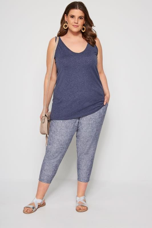 Blue Hatch Linen Mix Cropped Trousers