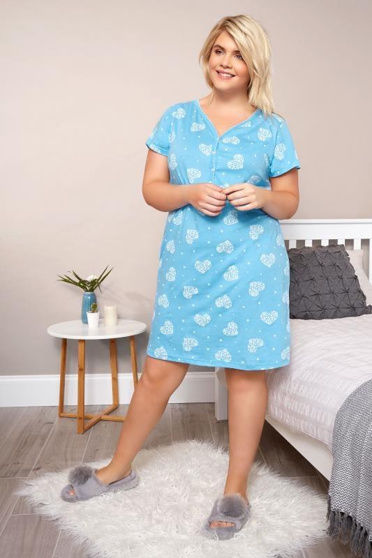 Blue Heart & Floral Nightdress