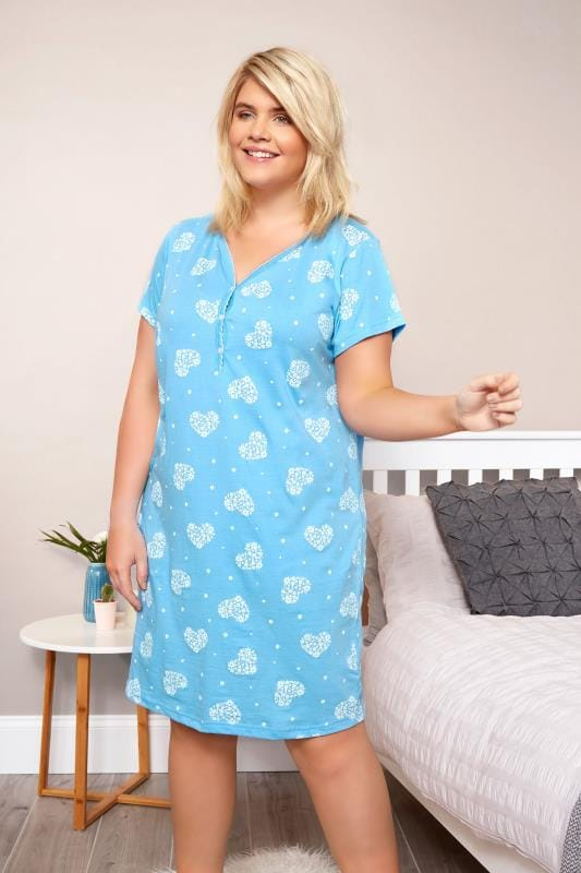 Plus Size Nightdresses & Chemises Blue Heart & Floral Nightdress