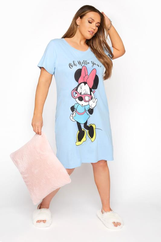 dla puszystych DISNEY Light Blue Hello Minnie Nightdress