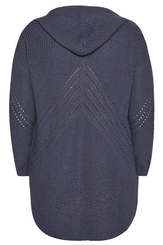 Blue Hooded Knitted Cardigan